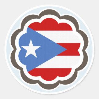 Puerto Rican Flag Flower Classic Round Sticker