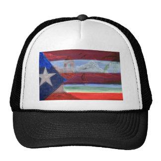 Puerto Rican Flag Hand Painted With San Juan Beach Mesh Hats