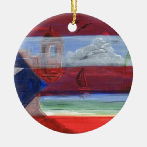 Puerto Rican Flag Hand Painted With San Juan Beach