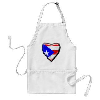 Puerto Rican Flag Heart Adult Apron