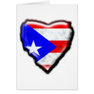 Puerto Rican Flag Heart Card