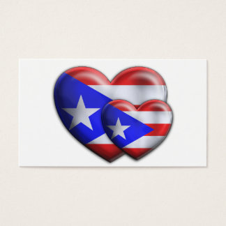 Puerto Rican Flag Hearts Business Card