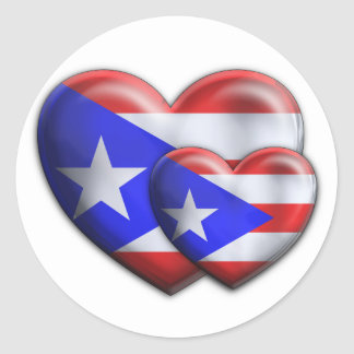Puerto Rican Flag Hearts Classic Round Sticker