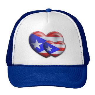 Puerto Rican Flag Hearts Trucker Hats