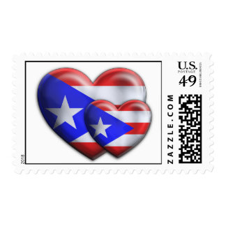 Puerto Rican Flag Hearts Stamps