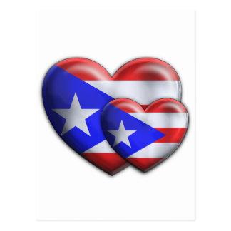 Puerto Rican Flag Hearts Postcard