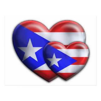Puerto Rican Flag Hearts Post Card