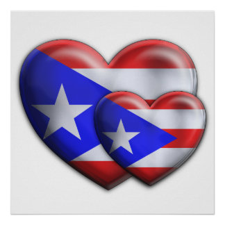 Puerto Rican Flag Hearts Poster