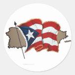 Puerto Rican Flag & Island Sticker