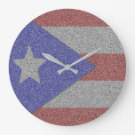 Puerto Rican Flag Large Clock