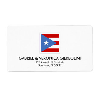 Puerto Rican Flag Modern Square Label