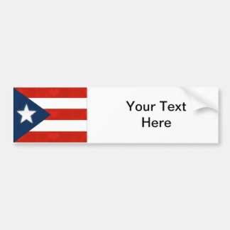 Puerto Rican Flag of Red Striped Hearts Bumper Sticker