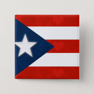 Puerto Rican Flag of Red Striped Hearts Button