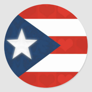 Puerto Rican Flag of Red Striped Hearts Classic Round Sticker