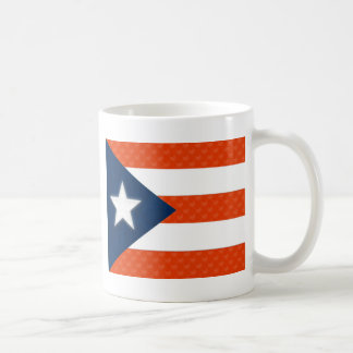 Puerto Rican Flag of Red Striped Hearts Coffee Mug