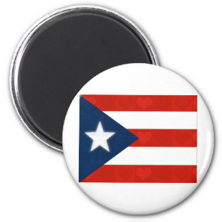 Puerto Rican Flag of Red Striped Hearts Magnet