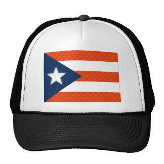 Puerto Rican Flag of Red Striped Hearts Trucker Hat
