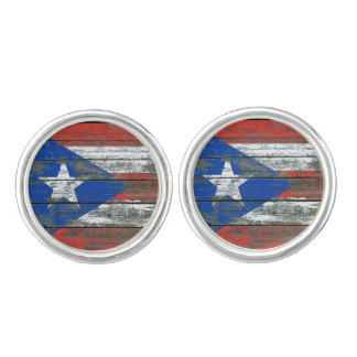 Puerto Rican Flag on Rough Wood Boards Effect Cufflinks