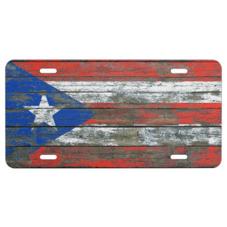 Puerto Rican Flag on Rough Wood Boards Effect License Plate