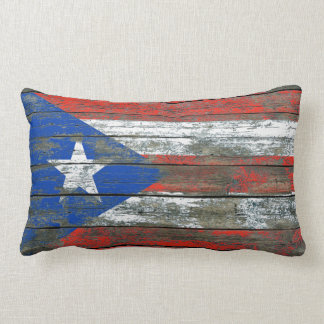 Puerto Rican Flag on Rough Wood Boards Effect Lumbar Pillow