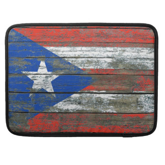 Puerto Rican Flag on Rough Wood Boards Effect Sleeves For MacBook Pro