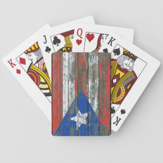 Puerto Rican Flag on Rough Wood Boards Effect Playing Cards