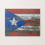 Puerto Rican Flag on Rough Wood Boards Effect Jigsaw Puzzles