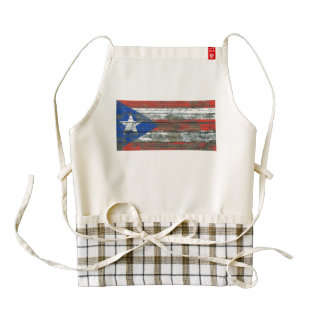 Puerto Rican Flag on Rough Wood Boards Effect Zazzle HEART Apron