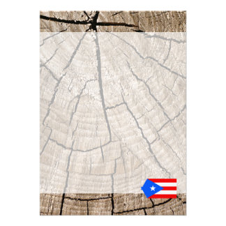 "Puerto Rican flag on tree bark 5"" X 7"" Invitation Card"