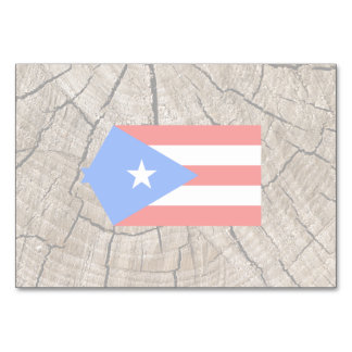 Puerto Rican flag on tree bark Table Cards