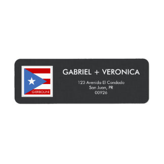 Puerto Rican Flag Personalized Label