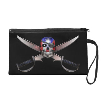 Puerto Rican Flag - Skull and Crossed Swords Wristlet Clutch