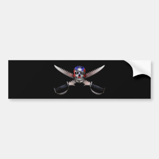 Puerto Rican Flag - Skull and Crossed Swords Bumper Sticker