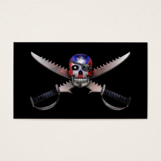 Puerto Rican Flag - Skull and Crossed Swords Business Card