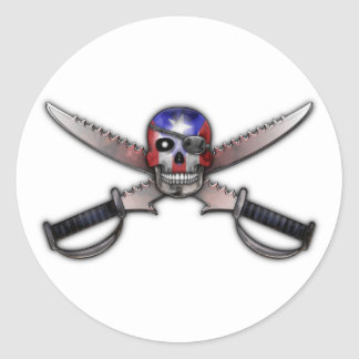 Puerto Rican Flag - Skull and Crossed Swords Classic Round Sticker