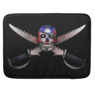 Puerto Rican Flag - Skull and Crossed Swords Sleeves For MacBooks