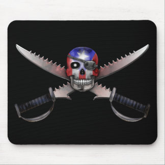 Puerto Rican Flag - Skull and Crossed Swords Mousepads