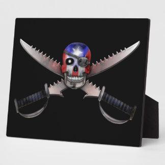 Puerto Rican Flag - Skull and Crossed Swords Display Plaque