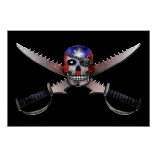 Puerto Rican Flag - Skull and Crossed Swords Poster
