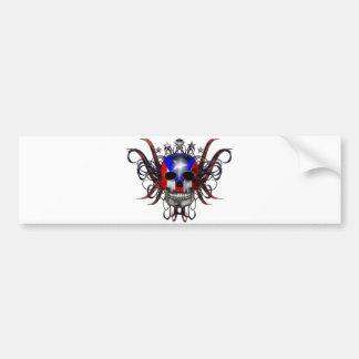 Puerto Rican Flag - Skull Bumper Sticker