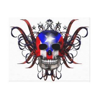 Puerto Rican Flag – Skull Canvas Print