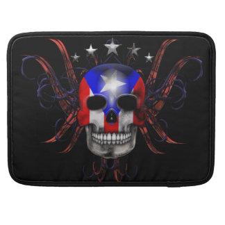 Puerto Rican Flag - Skull Sleeve For MacBooks