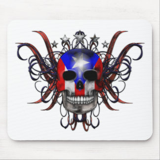 Puerto Rican Flag - Skull Mouse Pad