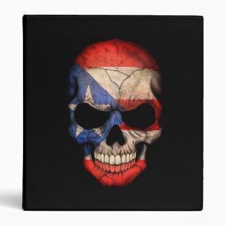 Puerto Rican Flag Skull on Black Vinyl Binders