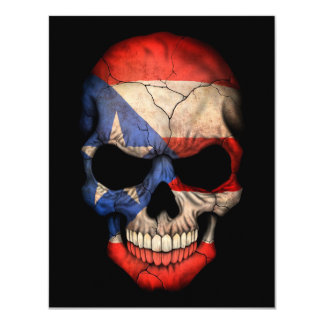 Puerto Rican Flag Skull on Black Card