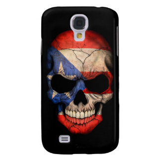 Puerto Rican Flag Skull on Black Galaxy S4 Covers