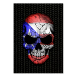 Puerto Rican Flag Skull on Steel Mesh Graphic Large Business Cards (Pack Of 100)