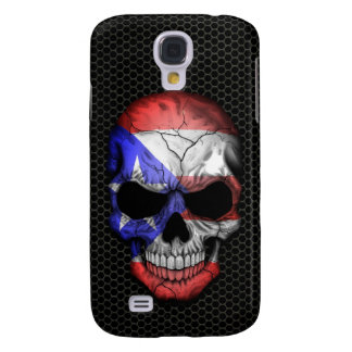 Puerto Rican Flag Skull on Steel Mesh Graphic Galaxy S4 Cover