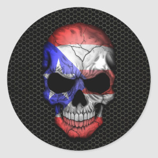 Puerto Rican Flag Skull on Steel Mesh Graphic Round Stickers