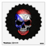 Puerto Rican Flag Skull on Steel Mesh Graphic Room Decals